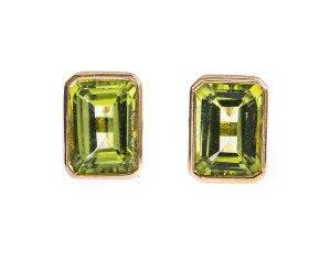 9ct Gold 2.00ct Peridot Rectangular Solitaire Earrings