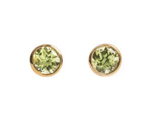 9ct Gold 0.50ct Peridot Solitaire Earrings
