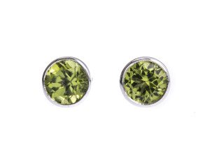 9ct White Gold 1.50ct Peridot Solitaire Earrings