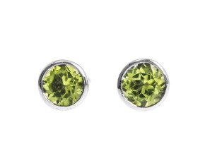 9ct White Gold 0.50ct Peridot Solitaire Earrings