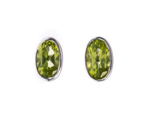 9ct White Gold 0.30ct Peridot Oval Solitaire Earrings