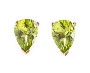 9ct Gold 1.60ct Peridot Pear Shaped Solitaire Earrings