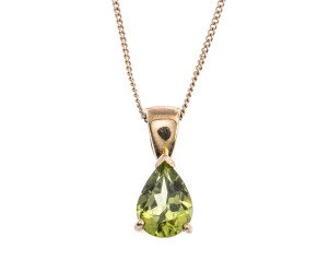 9ct Gold 0.85ct Peridot Pear Shaped Solitaire Pendant