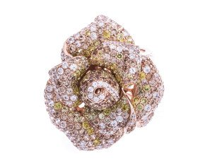 Silver & Rose Gold Cubic Zirconia Peony Bloom Ring