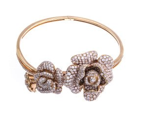 Sterling Silver & Rose Gold Vermeil Cubic Zirconia Peony Bloom Bangle