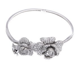 Sterling Silver & Rhodium Vermeil Cubic Zirconia Peony Bloom Bangle