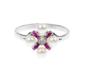 010 Diamond, Cultured Pearl & Ruby Ring