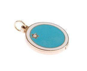 Vintage 9ct Gold Enamel & Split Pearl Round Locket