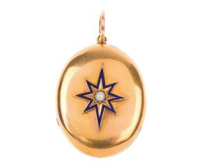 Antique Victorian 15ct Yellow Gold Split Pearl & Enamel Locket