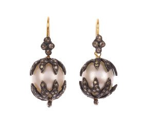 Pre-Owned Cultured Pearl & Diamond Drop Earrings