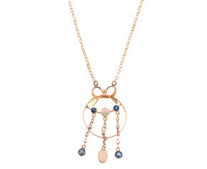 Antique 9ct Yellow Gold Opal, Sapphire & Seed Pearl Pendant