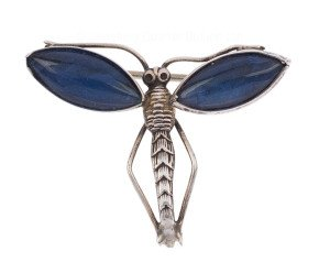 Antique Victorian Silver Butterfly Wing Dragonfly Brooch