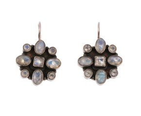 Vintage Moonstone Cluster Drop Earrings