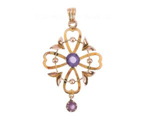 Early 20th Century 9ct Yellow Gold Amethyst Pendant