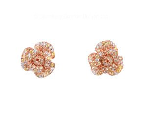 Sterling Silver & Rose Gold Vermeil Cubic Zirconia Peony Bloom Earrings
