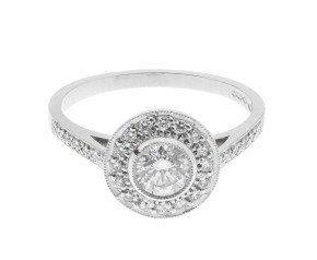 Platinum 0.57ct Diamond Cluster Ring