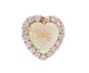 Opal & 2.20ct Diamond Heart Cluster Ring
