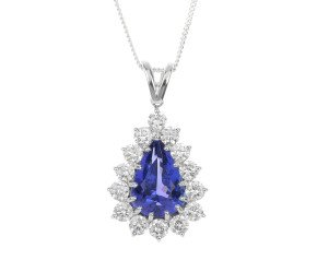18ct White Gold 3.82ct Tanzanite & 1.48ct Diamond Pendant