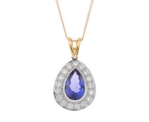 18ct Yellow Gold 1.97ct Tanzanite & 0.37ct Diamond Cluster Pendant