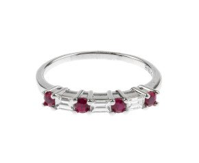 18ct White Gold 0.28ct Ruby & 0.22ct Diamond Ring