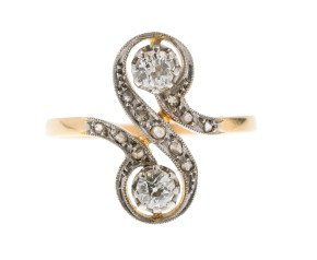 Antique continental 18ct Gold Diamond Dress Ring
