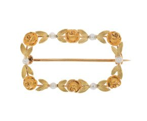 Antique Continental Gold Split Pearl Brooch