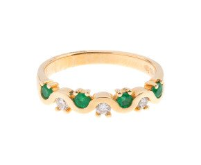 18ct Gold 0.20ct Emerald & Diamond Wavy Half Eternity Ring