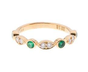 18ct White Gold 0.28ct Emerald & Diamond Half Eternity Ring