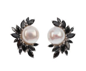 Sterling Silver Button Pearl & Black Cubic Zirconia Spray Clip On Earrings