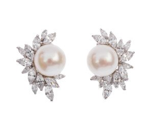 Sterling Silver Button Pearl & Cubic Zirconia Spray Clip On Earrings
