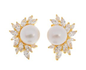 Sterling Silver & Gold Plated Button Pearl & Cubic Zirconia Spray Clip On Earrings