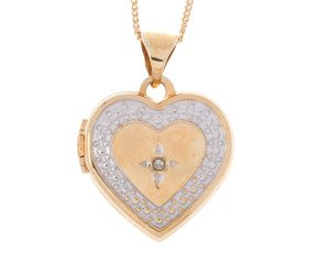 9ct Yellow & White Gold Diamond Heart Locket