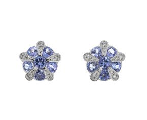9ct White Gold Tanzanite Diamond Earrings