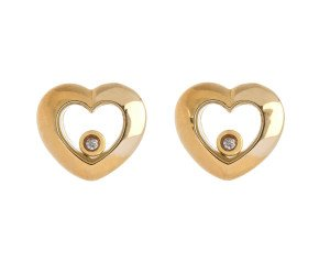 9ct Yellow Gold Floating Diamond Heart Stud Earrings