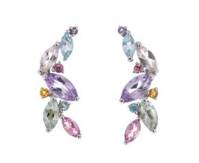 9ct White Gold Multi Stone Marquise Earrings