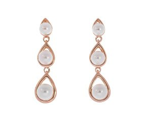 9ct Rose Gold Graduated Pearl Drop Earrings