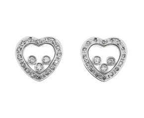 9ct White Gold 0.35ct Diamond Heart Earrings