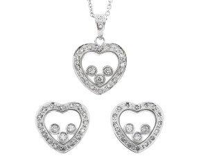 9ct White Gold Floating 0.50ct Diamond Heart Pendant & Earrings Set