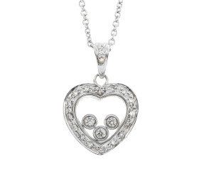 9ct White Gold 0.17ct Diamond Heart Pendant
