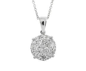 18ct White Gold 1ct Diamond Cluster Pendant