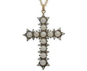 Pearl & Diamond Cross Pendant