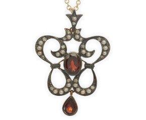 Garnet, Seed Pearl & Diamond Pendant