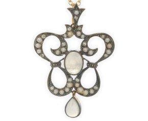 Moonstone, Seed Pearl & Diamond Pendant