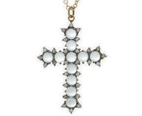 Topaz & Diamond Cross Pendant