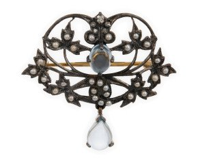 Topaz, Pearl & Diamond Brooch