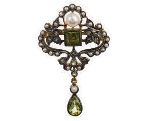 Peridot, Pearl & Diamond Brooch