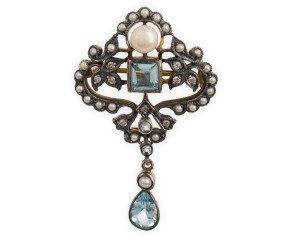 Pearl, Topaz & Diamond Brooch