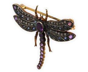 Amethyst, Sapphire & Diamond Dragonfly Brooch