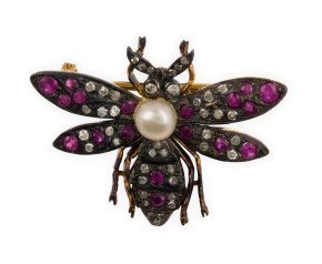 Pearl, Ruby & Diamond Bee Brooch