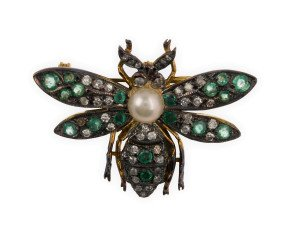 Pearl, Emerald & Diamond Bee Brooch